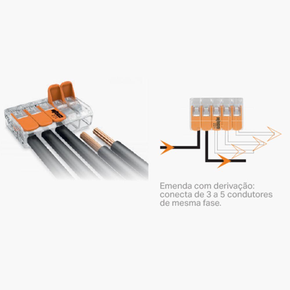 Kit 6 Conector Wago Emenda 5 Fios Mod. 221-415