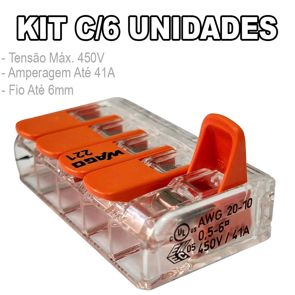 Kit 6 Conector Wago Emenda 5 Fios Mod. 221-615
