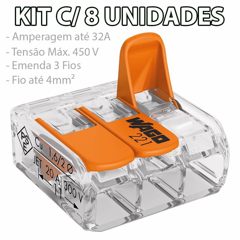 Kit 8 Conector Wago Emenda 3 Fios Mod. 221-413