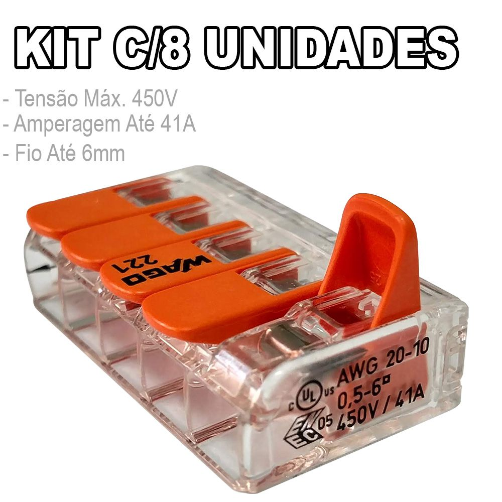Kit 8 Conector Wago Emenda 5 Fios Mod. 221-615