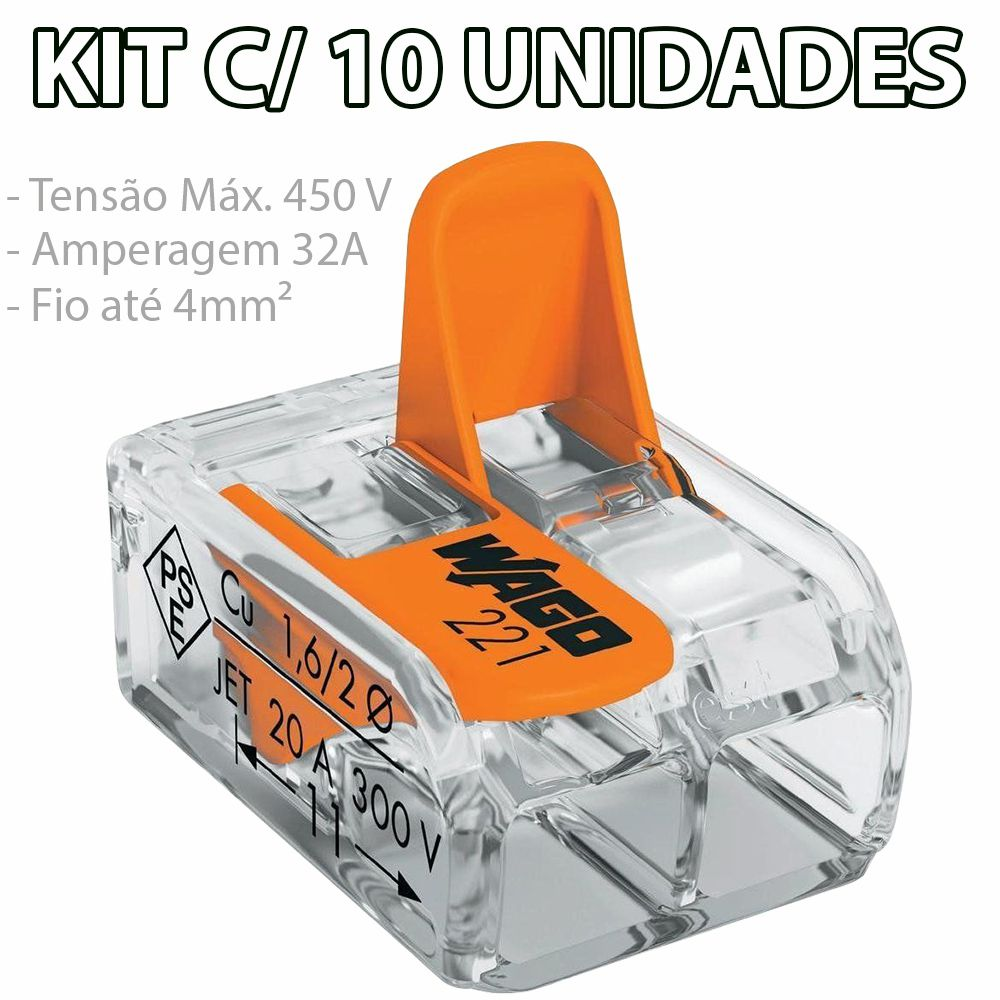 Kit Com 10 Conector Wago Emenda 2 Fios Mod 221-412
