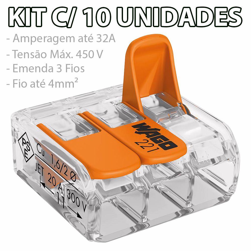 Kit Com 10 Conector Wago Emenda 3 Fios Mod 221-413