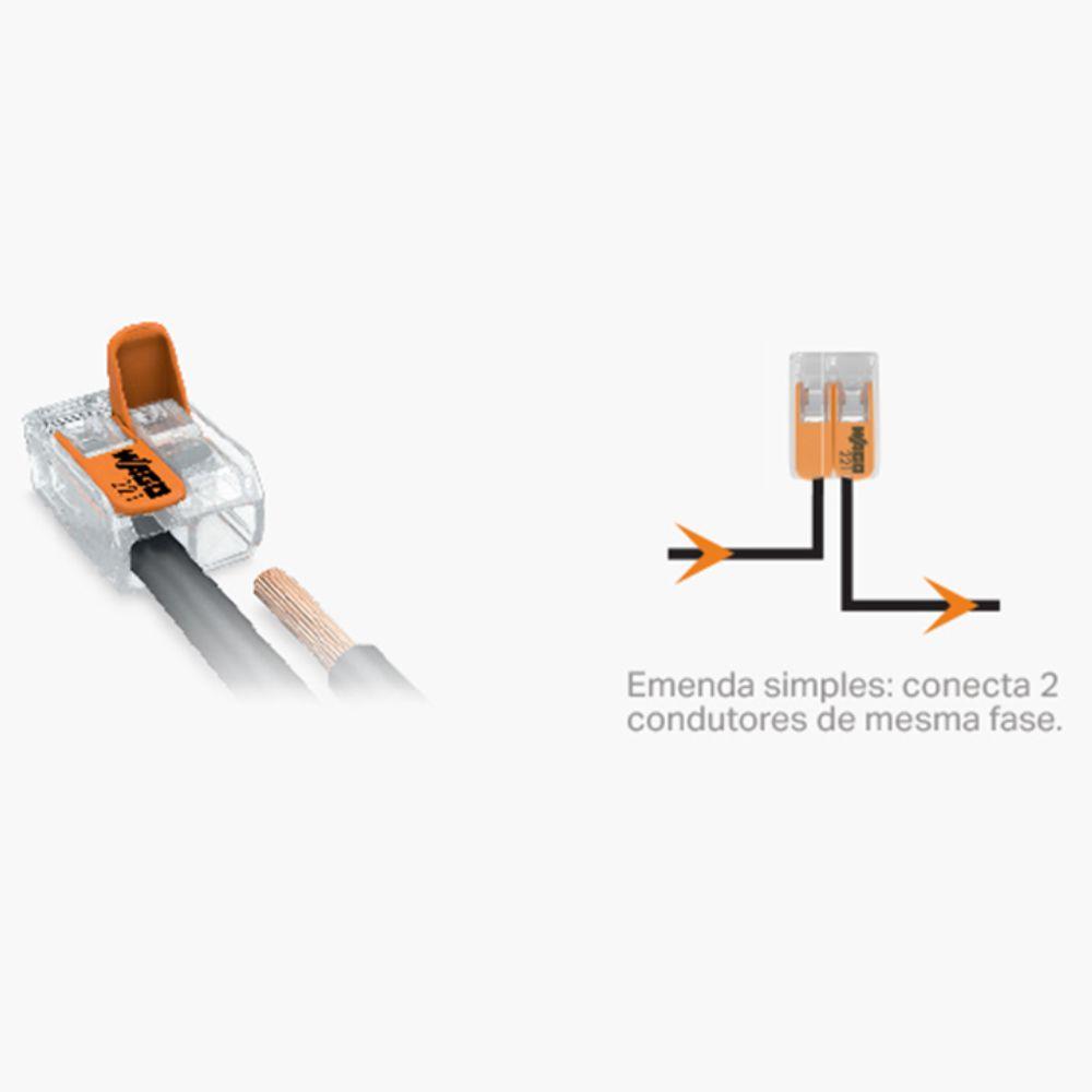 Kit Com 12 Conector Wago Emenda 2 Fios Mod 221-412