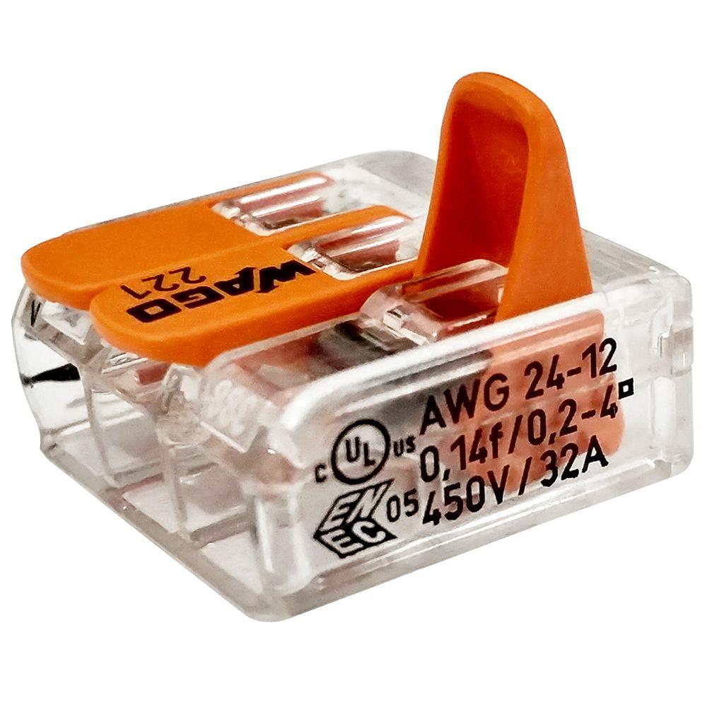 Kit Com 12 Conector Wago Emenda 3 Fios Mod 221-413