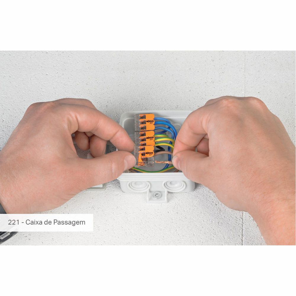 Kit Com 20 Conector Wago Emenda 5 Fios Mod 221-415