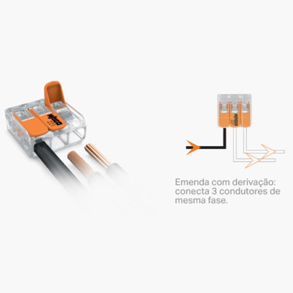 Kit Com 50 Conector Wago Emenda 3 Fios Mod 221-413