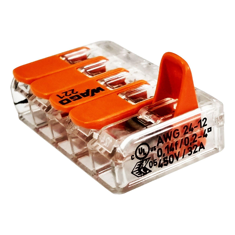 Kit Com 50 Conector Wago Emenda 5 Fios Mod 221-415