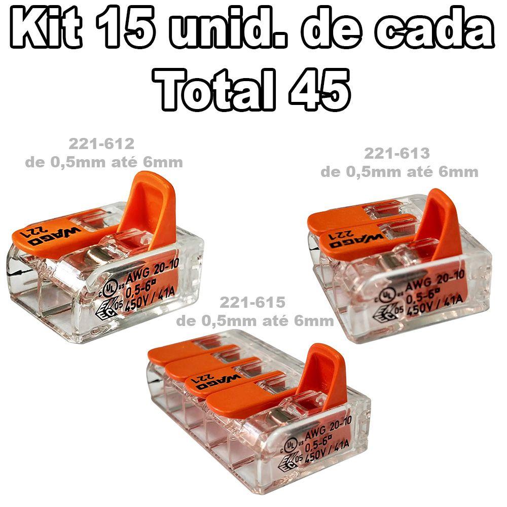 Kit Conector Wago 15 Un. 221-612 + 15un. 221-613 + 15un. 221-615