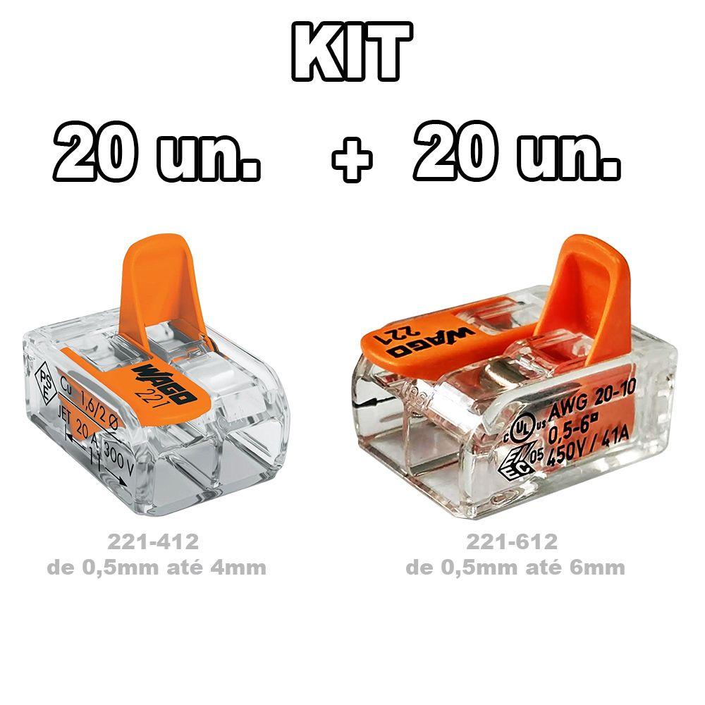 Kit Conector Wago 20 un. 221-612 + 20un. 221-412