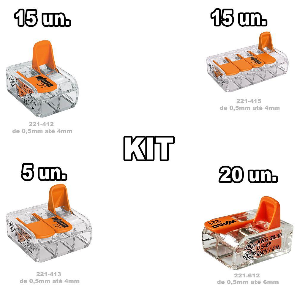 Kit conectores Wago 612 10un + 412 15un. + 413 15un + 415 5un