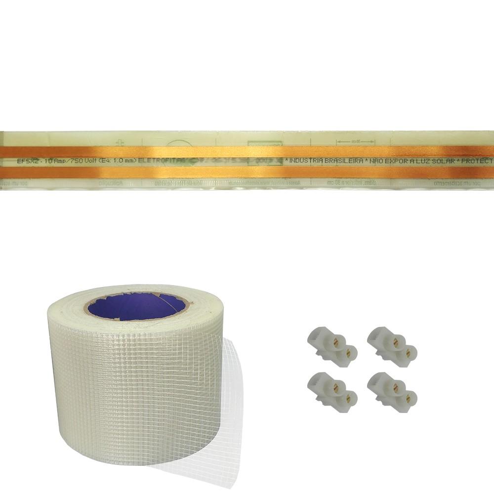 Kit Eletrofita 2 Pistas 10a 40 Metros + Malha + 28 Conectores