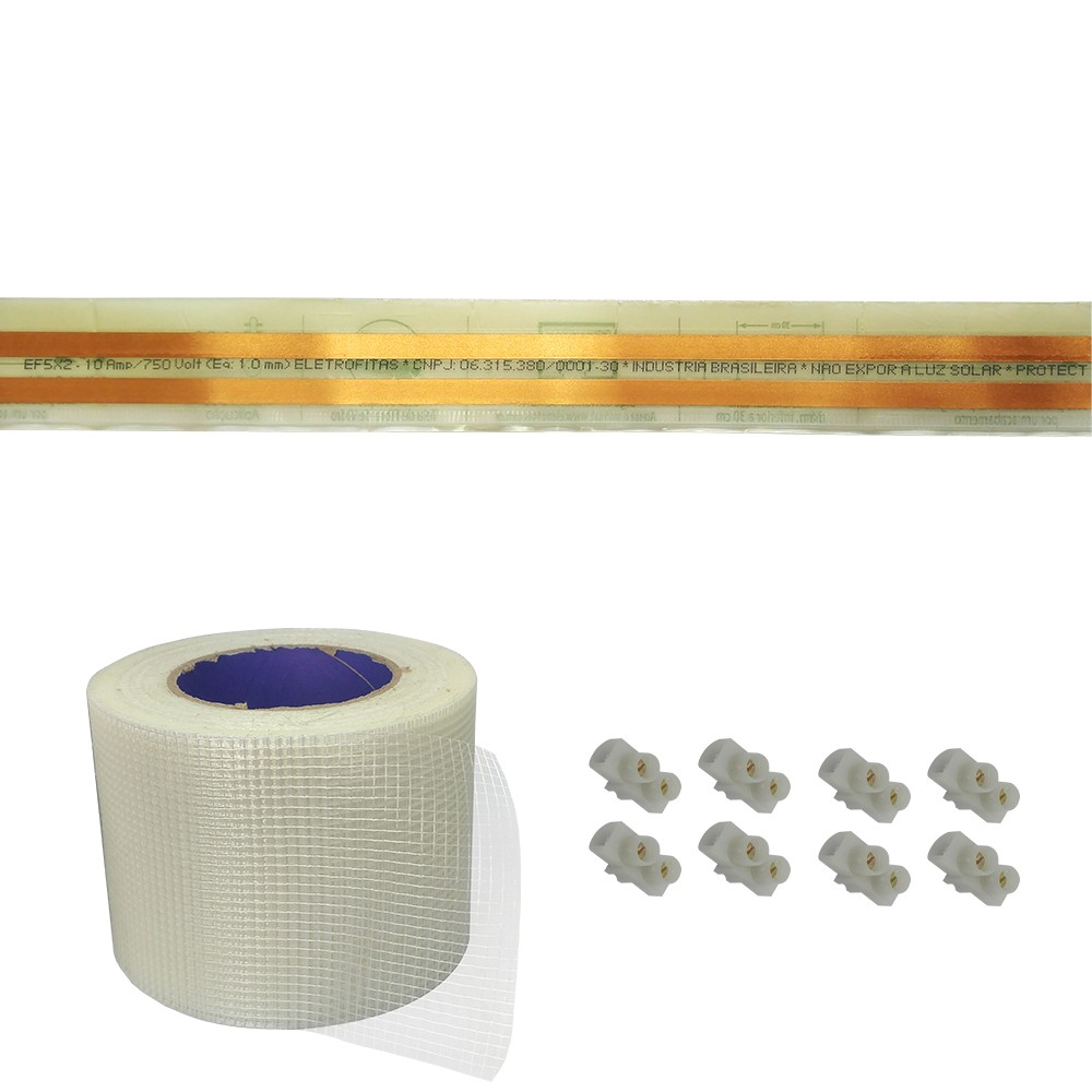 Kit Eletrofita 2 Vias 10a 6 Metros + 8 conectores