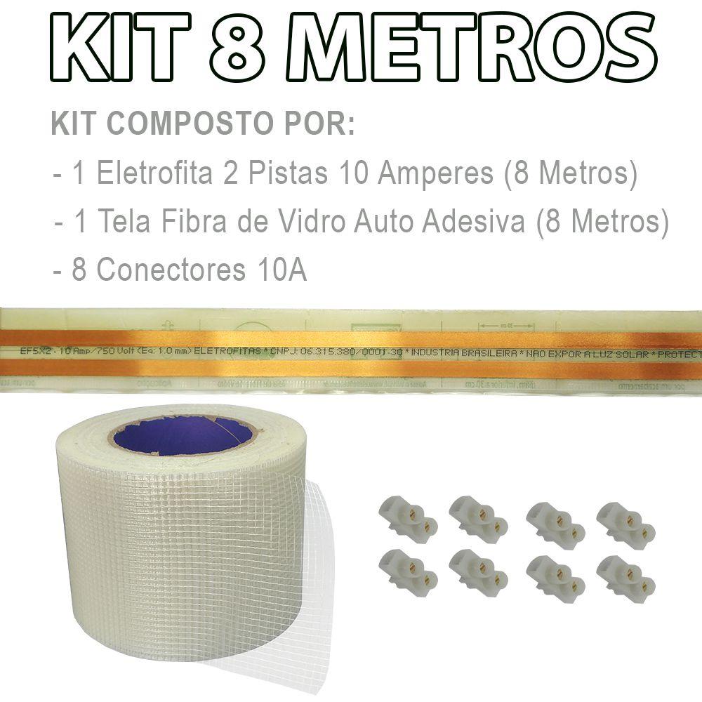 Kit Eletrofita 2 Vias 10a 8 Metros + 8 conectores