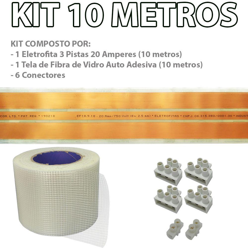 Kit Eletrofita 3 Pistas 10m 20A + Malha e Conector