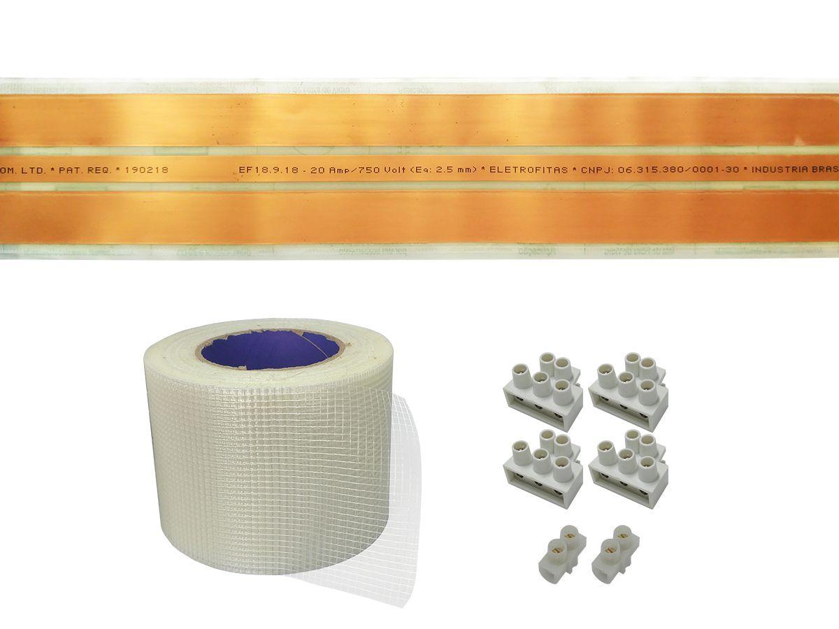 Kit Eletrofita 3 Pistas 20A 10m Malha 30 Conectores