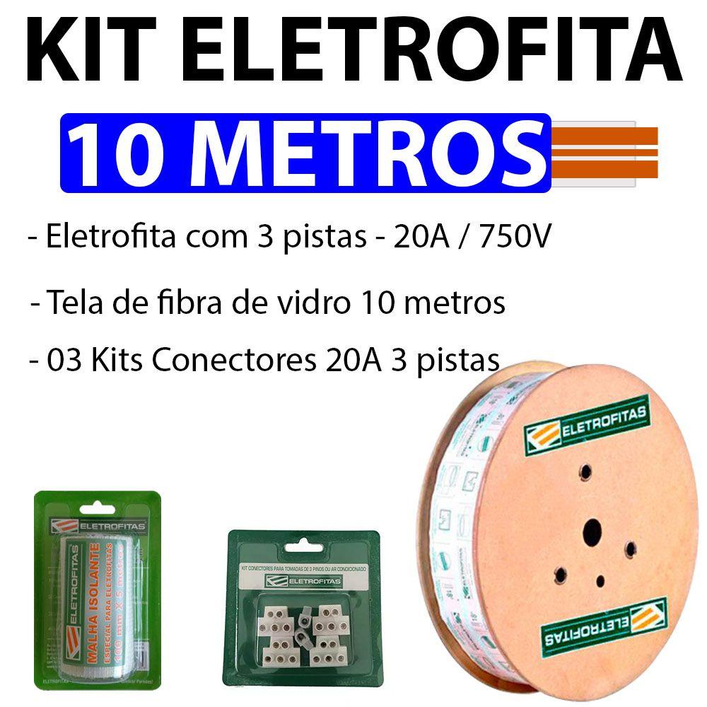 Kit Eletrofita 3 Pistas 20A 10m + Malha e Conector