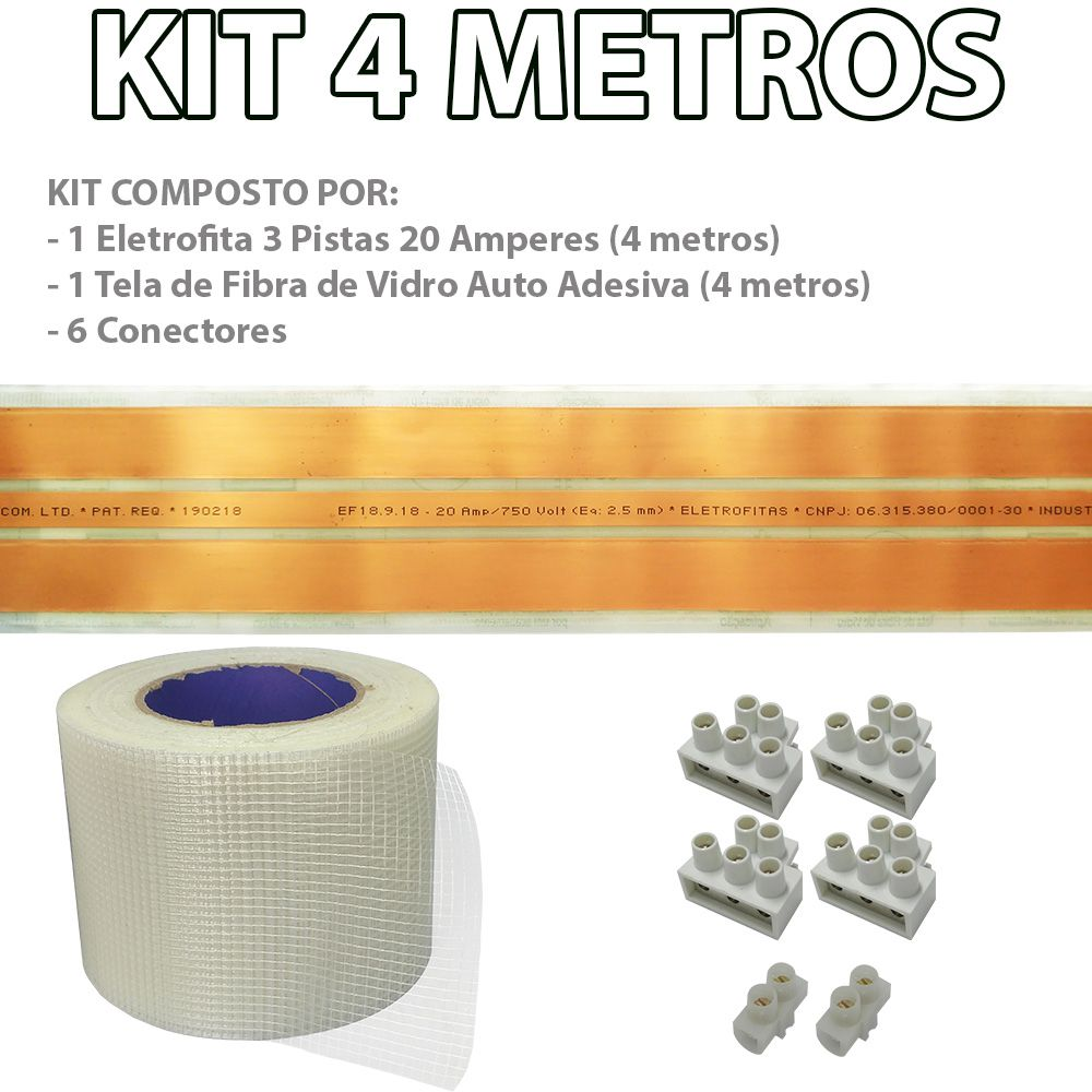 Kit Eletrofita 3 Pistas 4 Metros 750V 20A