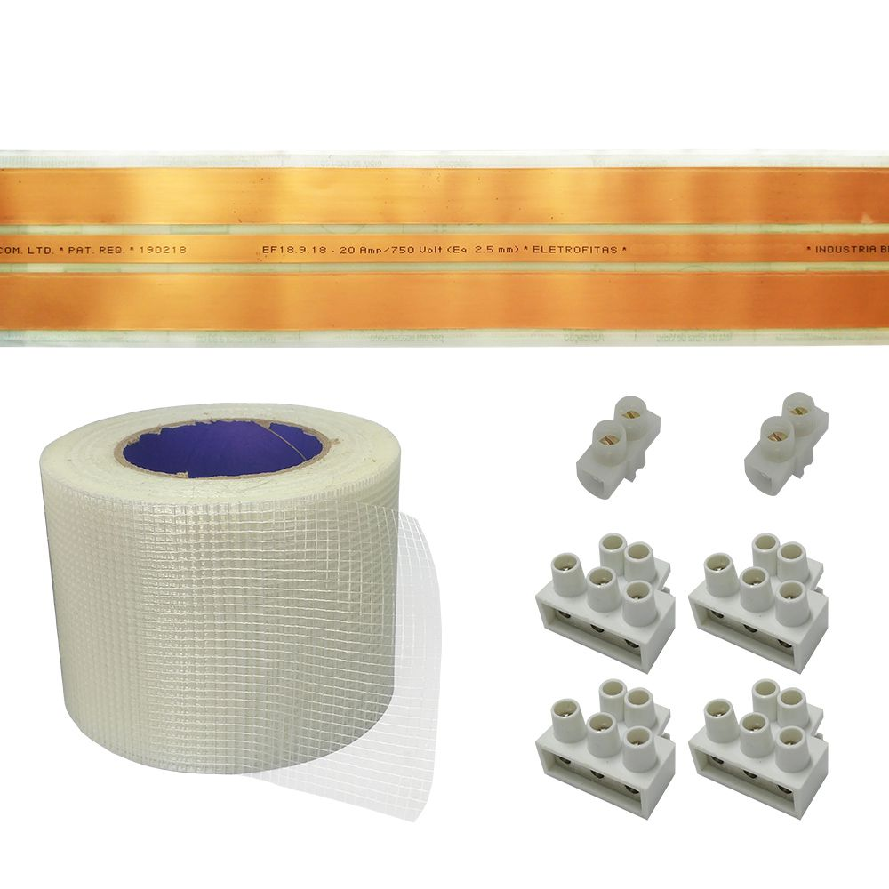Kit Eletrofita 3 Pistas 5m 20A + Malha e Conector