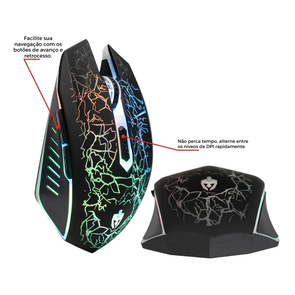 Mouse Gamer 6 Teclas Led Rgb Rayden c/ fio