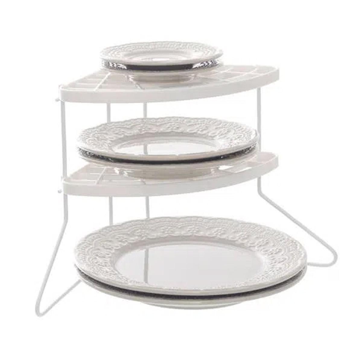 Organizador de pratos vertical cantos armário