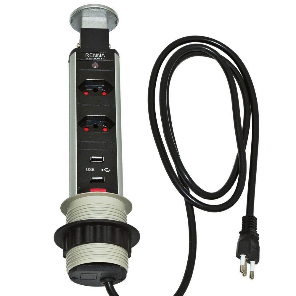 Torre 2 Tomadas e USB Multiplug Retrátil Embutir