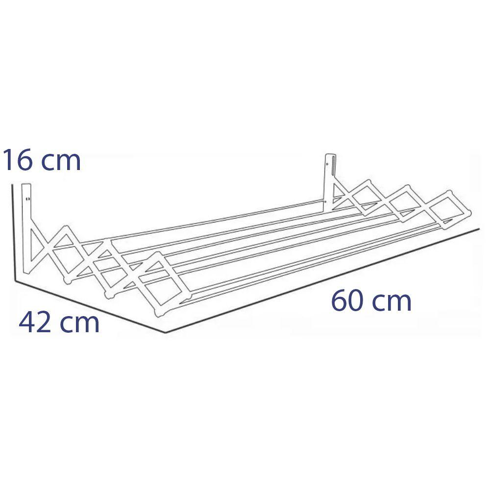 Varal de Parede Sanfonado Aço 60cm Secalux Prata