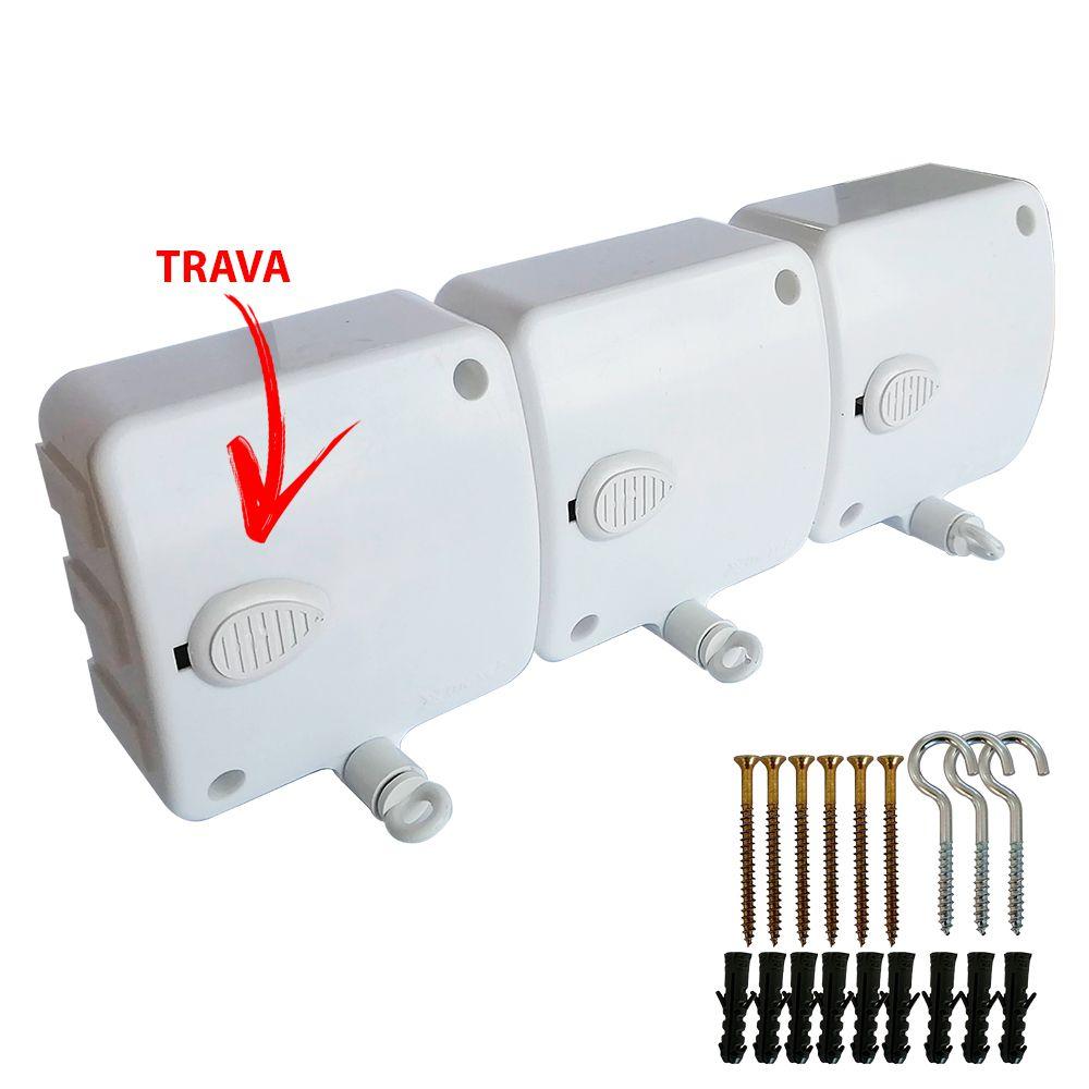 Varal Modular Retratil Automático 3 Pçs 4,8 Mts Cada