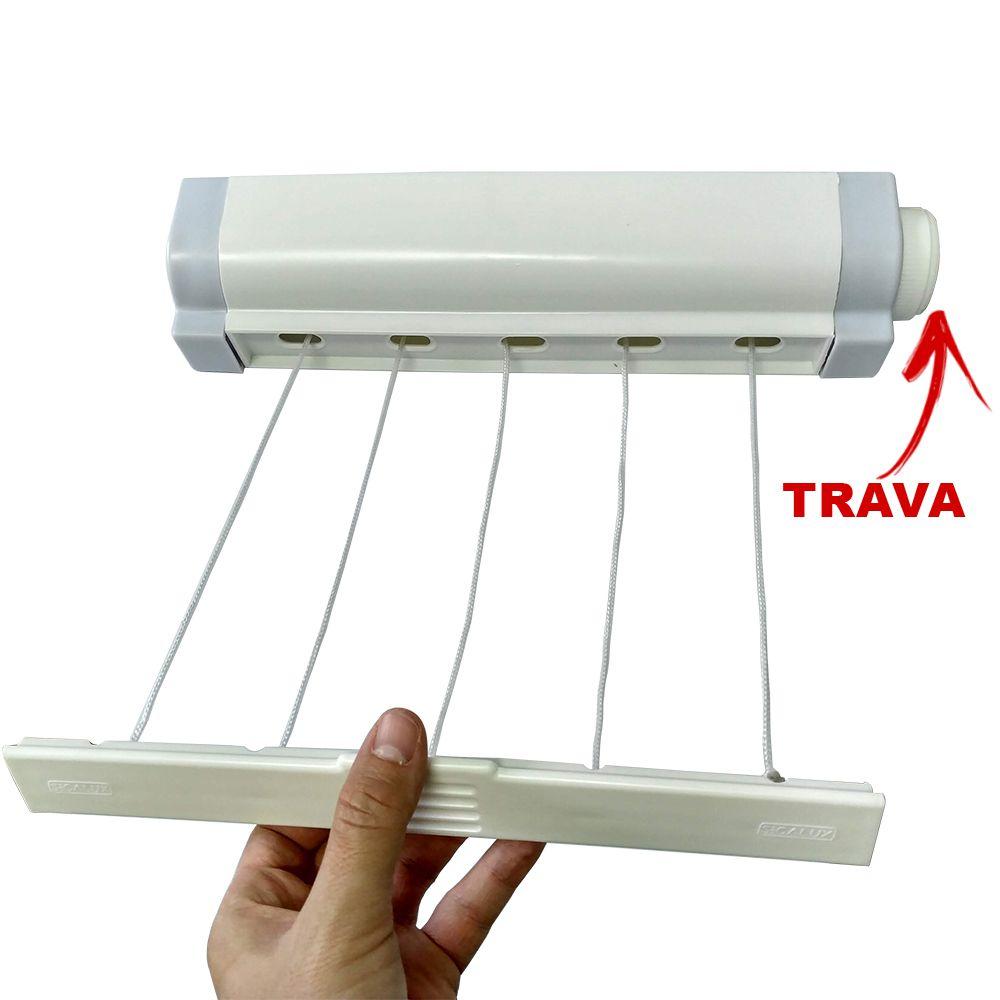 Varal Retratil Automatico Com 5 Cordas Secalux
