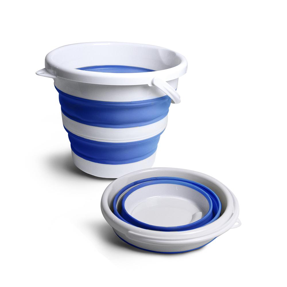 Balde retrátil 10L branco c/ azul  - My Shop