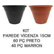 KIT 10 VASOS DE PAREDE VICENZA BRANCO 15CM