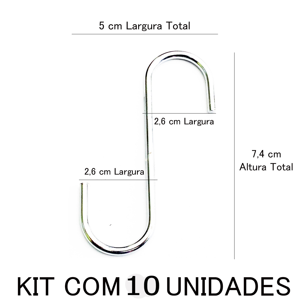 GANCHO CROMADO 3X73 ZE CARLOS PALMA C/ 10 UNIDADES