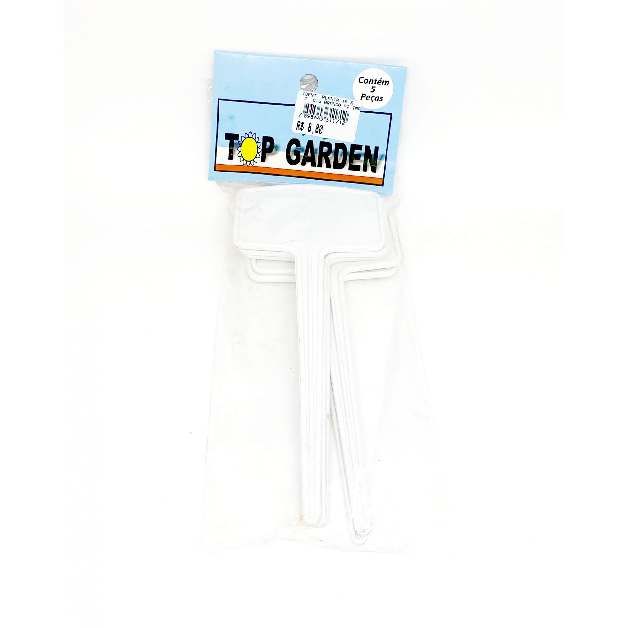 Identificador para Planta Branco 19 x 7cm c/ 5 peças Top Garden
