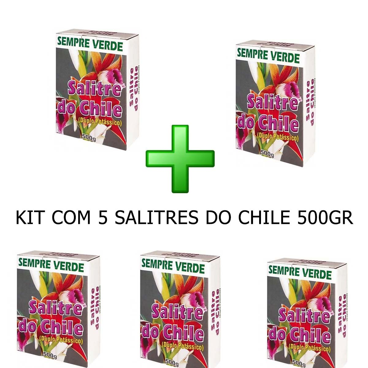 KIT 5 Fertilizante Salitre do Chile 500g
