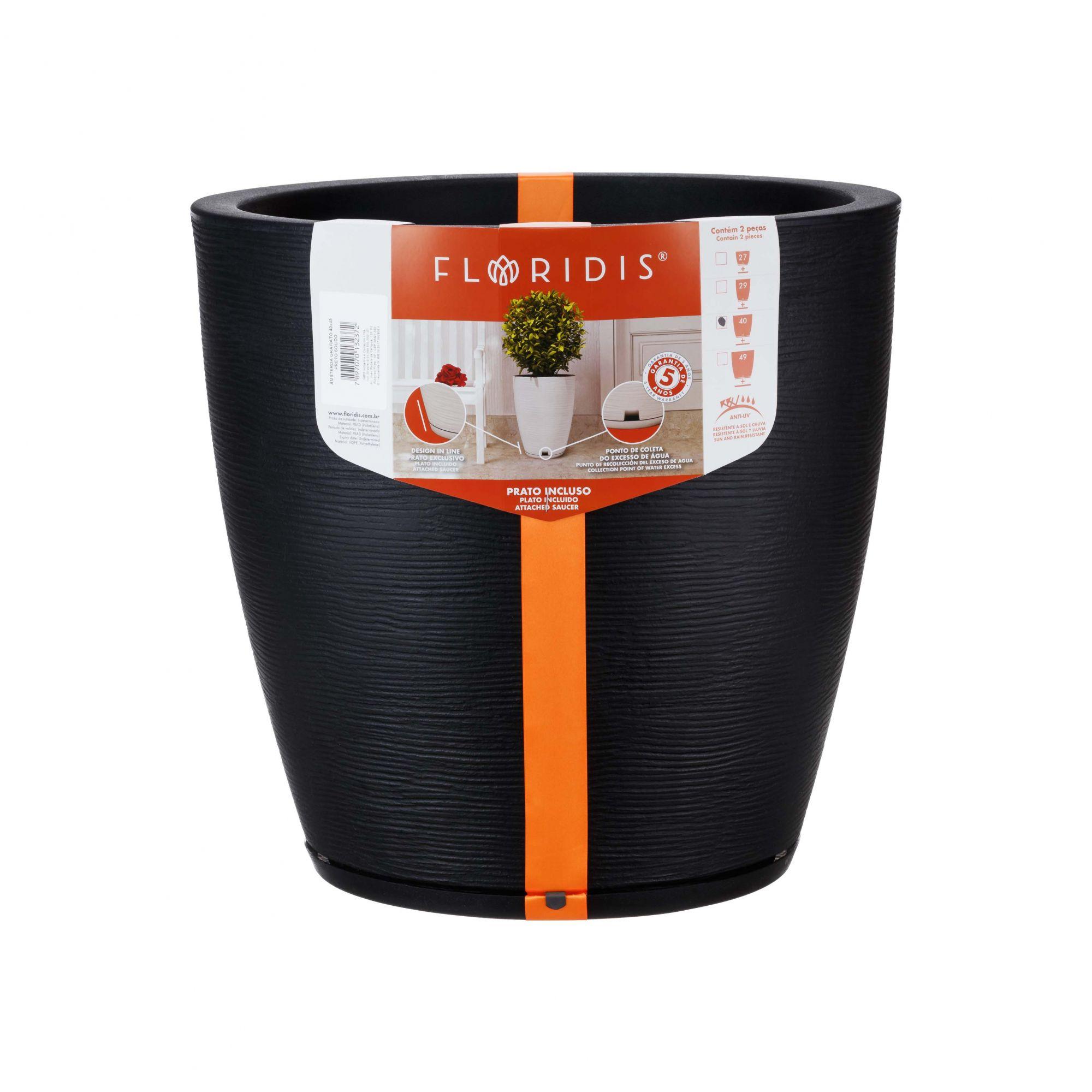 Vaso Amsterdã Grafiato Preto Sólido - 40 x 45 cm