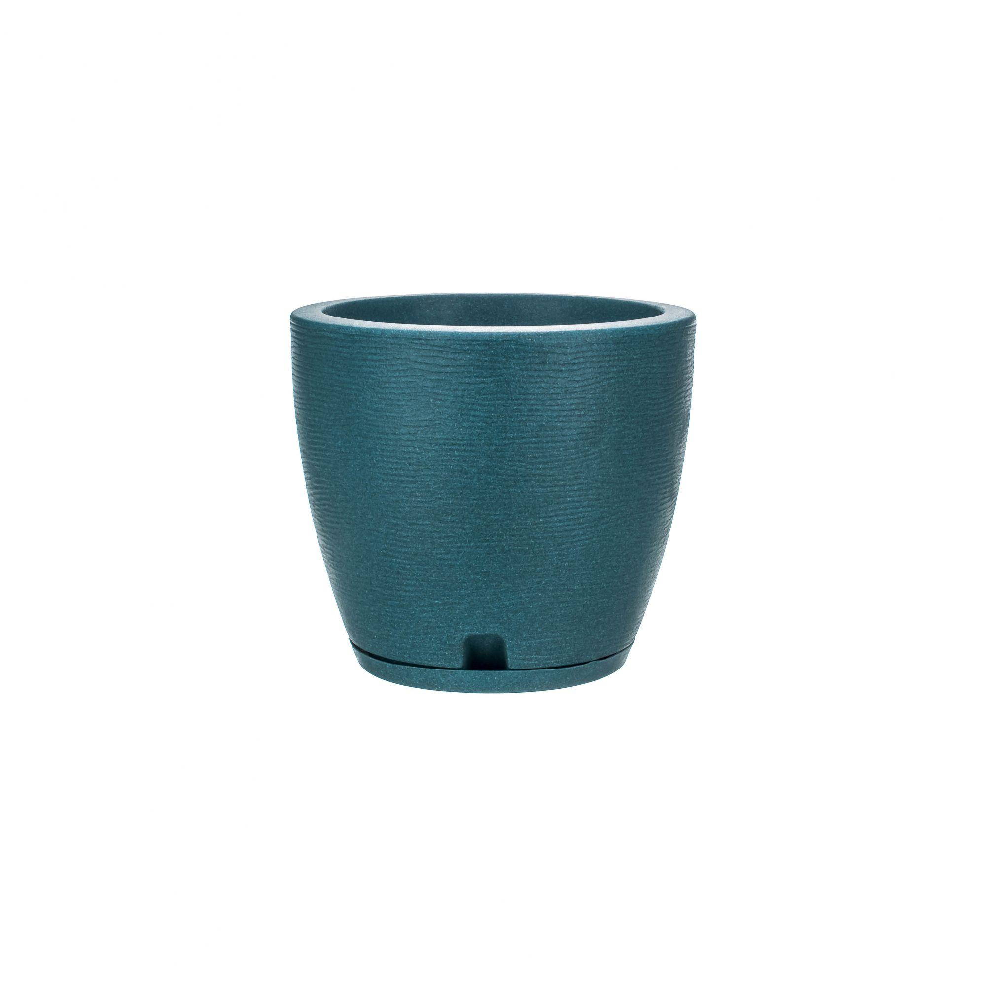 Vaso Amsterdã Grafiato Verde Agua Stone - 27 x 28 cm