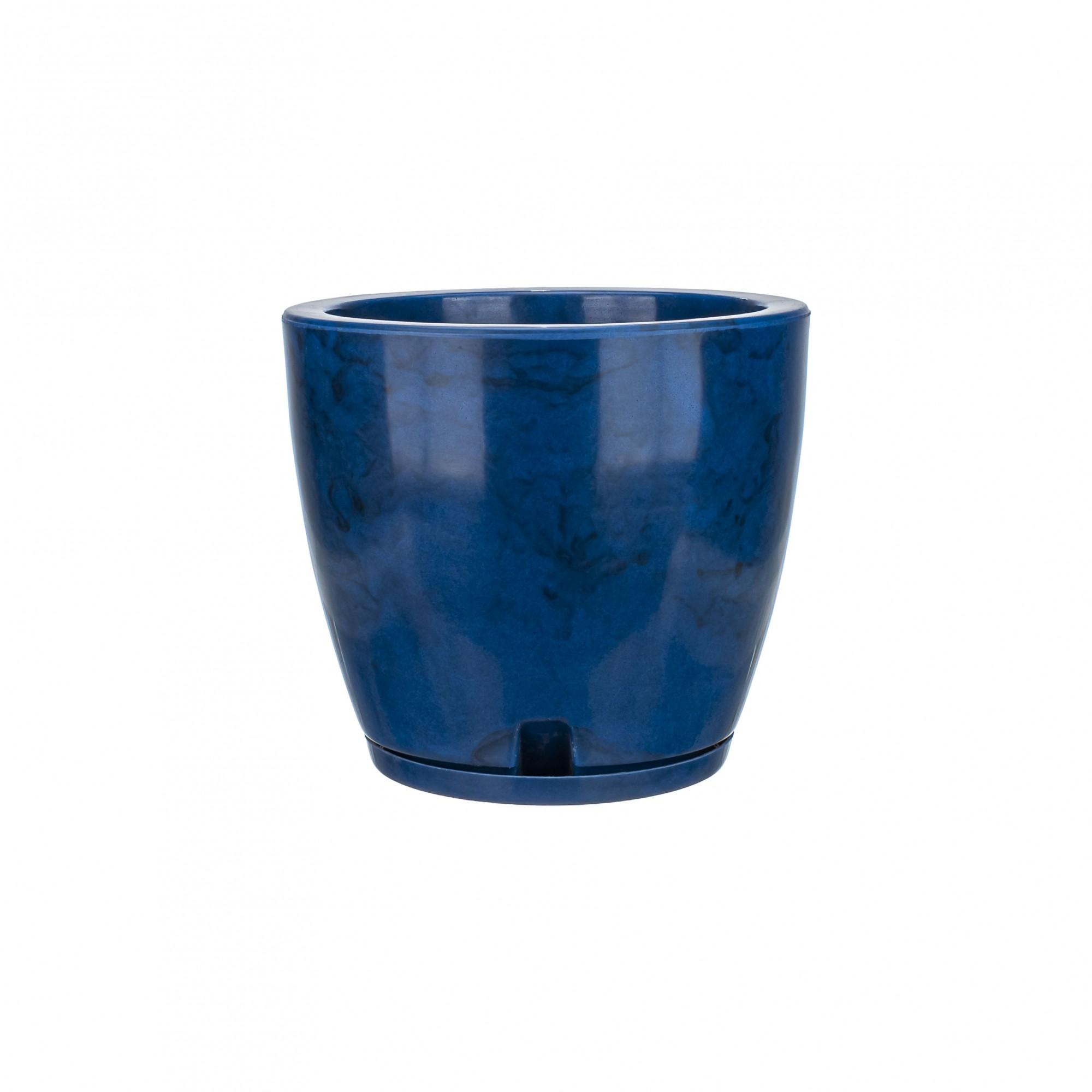 Vaso Amsterdã Marmorato Azul - 27 x 28 cm