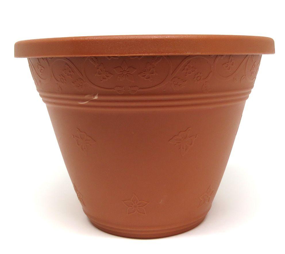Vaso Plástico para Parede Vicenza Marrom Pequeno 15cm - DL