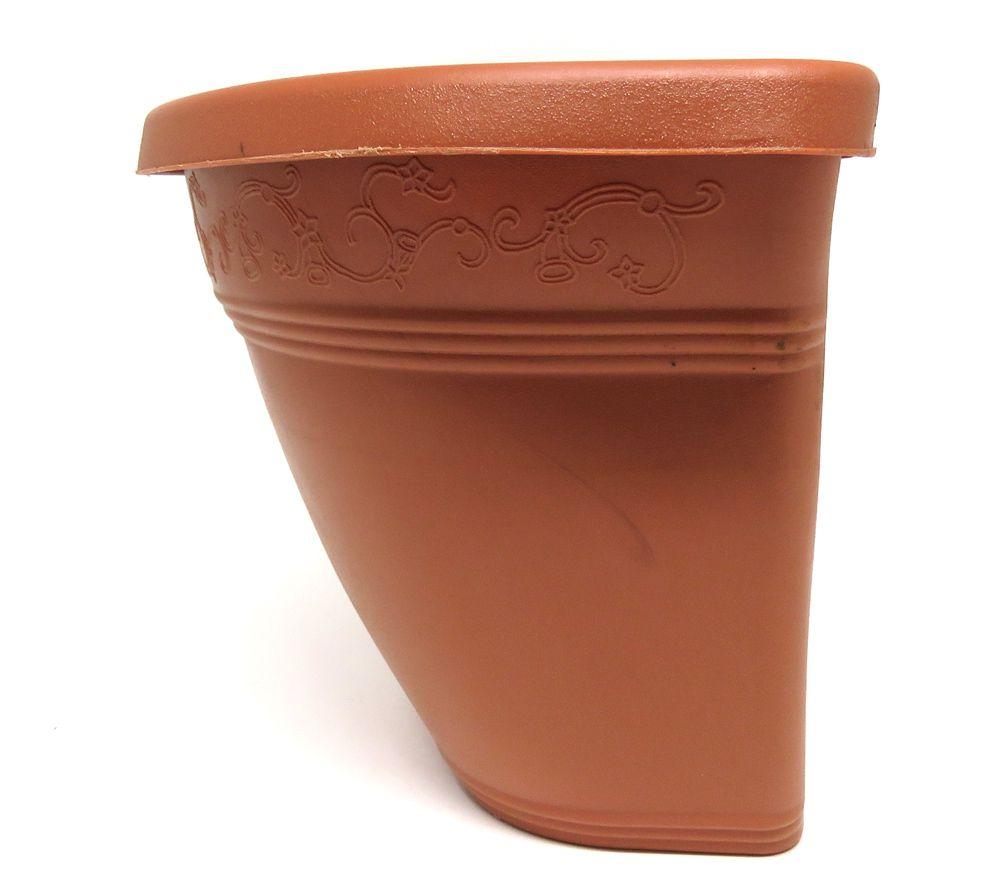 Vaso Plástico para Parede Vicenza Marrom  Médio 23cm - DL