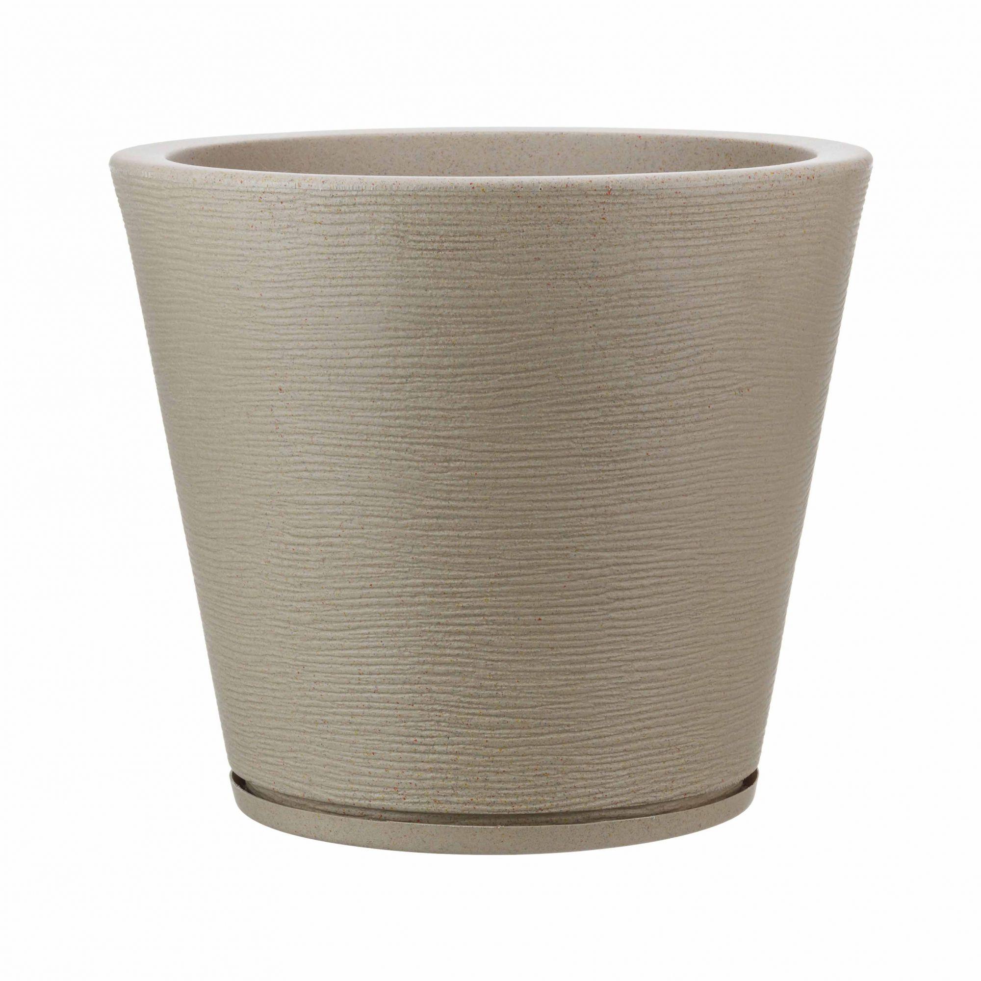 Vaso Genebra Grafiato Bege Stone - 34 x 35 cm