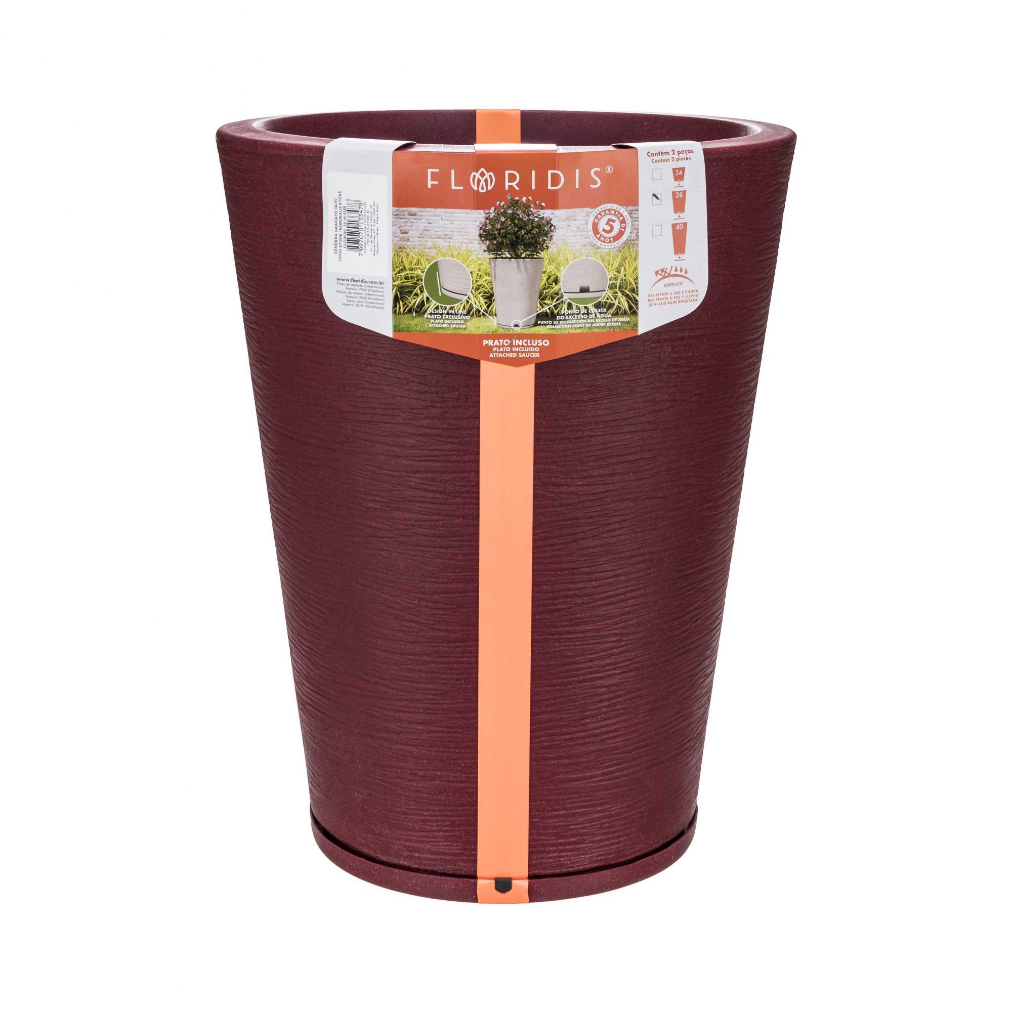 Vaso Genebra Grafiato Vinho Stone - 38 x 57 cm