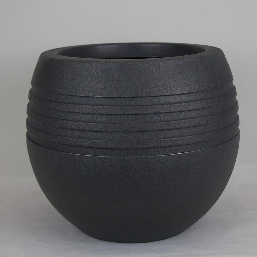 Vaso Oval Jateado Chumbo