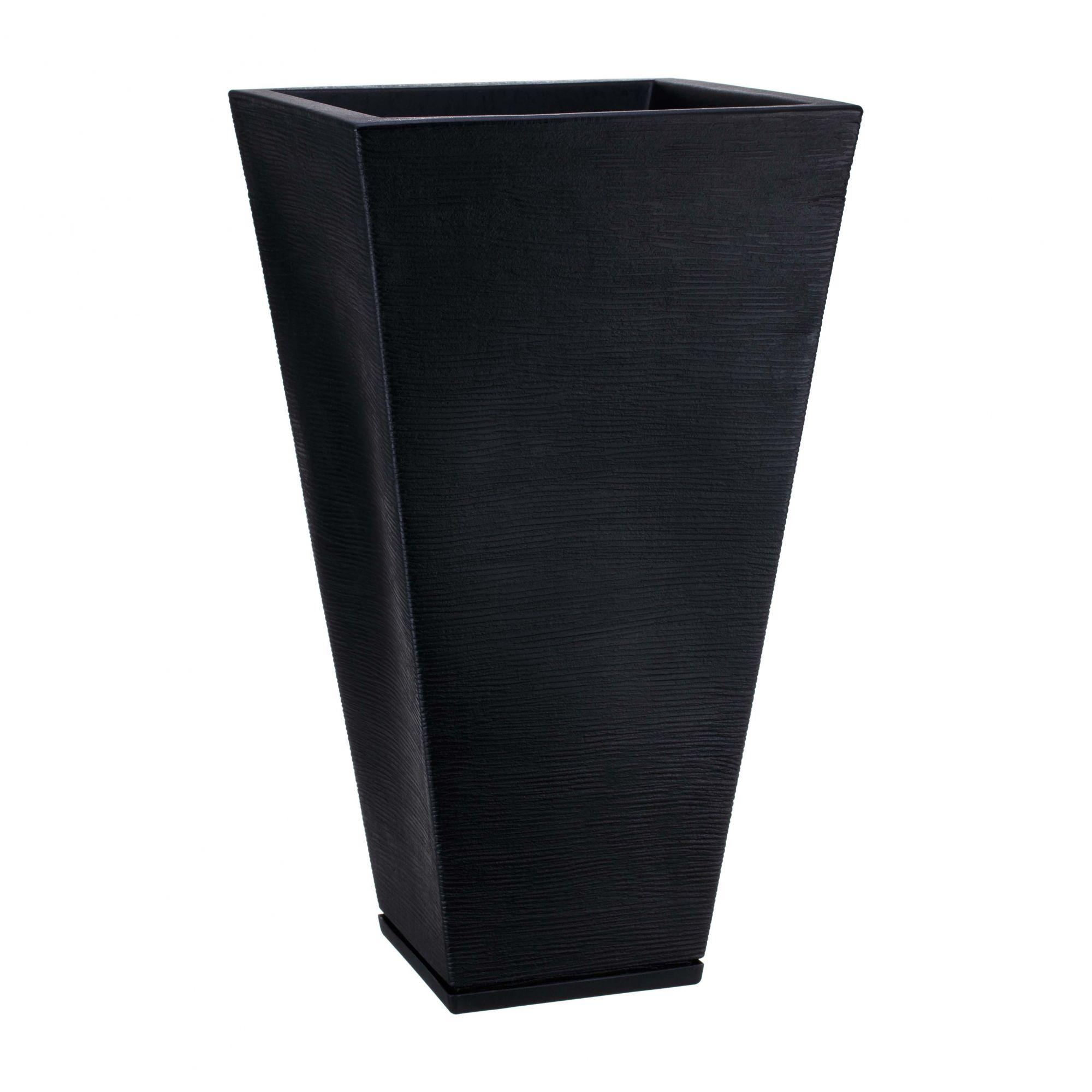 Vaso Zurique Grafiato Preto Sólido - 35cm x 74cm