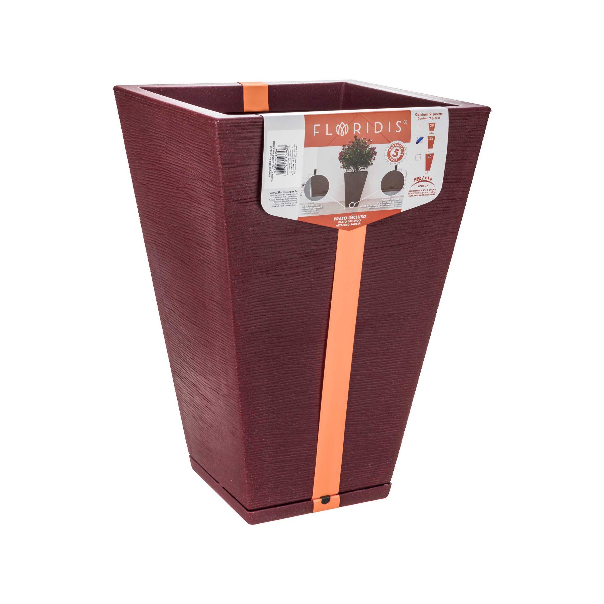 Vaso Zurique Grafiato Vinho Stone - 32cm x 55cm