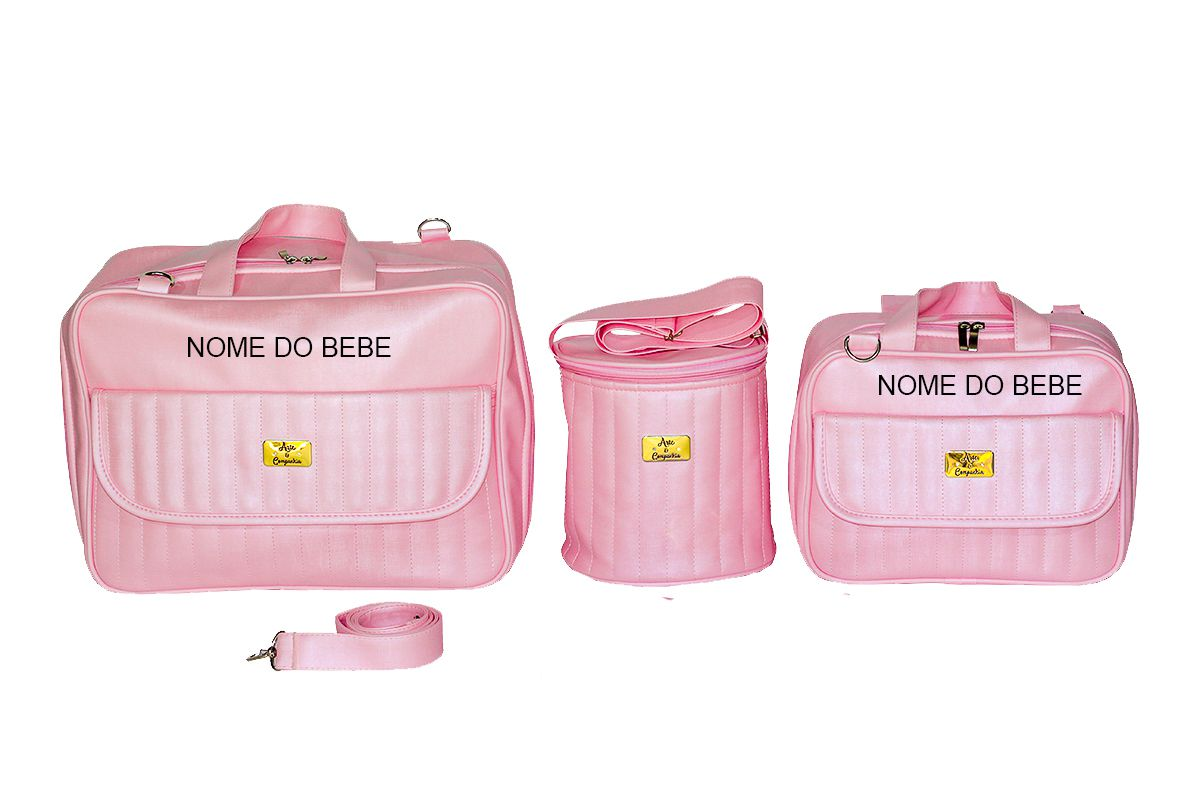 deee61498 Kit Bolsa Mala Bebe Personalizada Luxo 3 Peças - Gaby Mundo Infantil