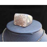 Anel Pedra Natural Maciço com Ametista  (n. 21)