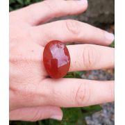 Anel Pedra Natural Ágata Laranja  Maciço (n. 18)