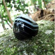 Anel Pedra Natural Ágata Preta Maciço (n. 24)