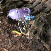 Anel Pedra Natural  Ametista e Ágata Cristalizada Azul (Regulável)