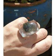 Anel Pedra Natural Lodolita em Ródio (Regulável)