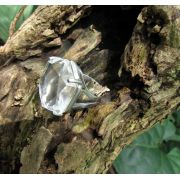 Anel Pedra Natural Quartzo Cristal em Ródio (n. 17)